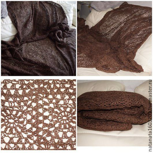 Текстиль, ковры ручной работы. Ярмарка Мастеров - ручная работа. Купить Вязаный плед-покрывало,крючок,100%хлопок,элементы. Handmade.