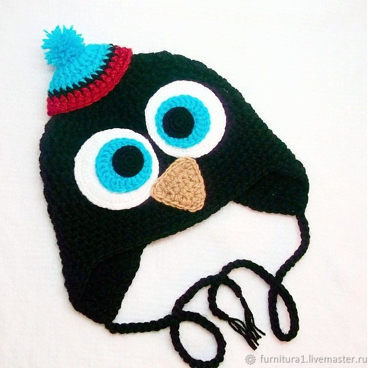 Одежда шапка для малышей пингвин теплая вязаная зимняя с ушками черная, Одежда, Москва,  Фото №1