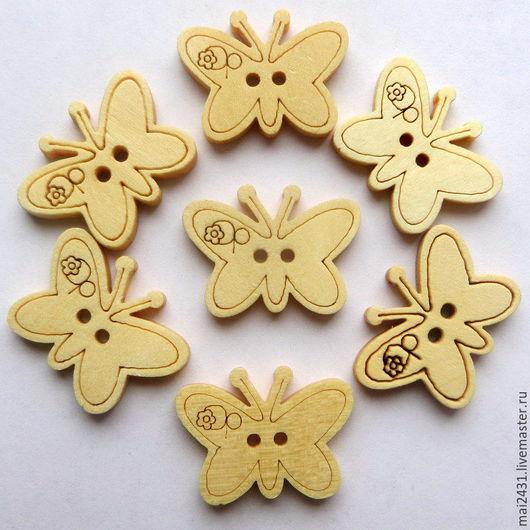 Пуговицы деревянные бабочки №2