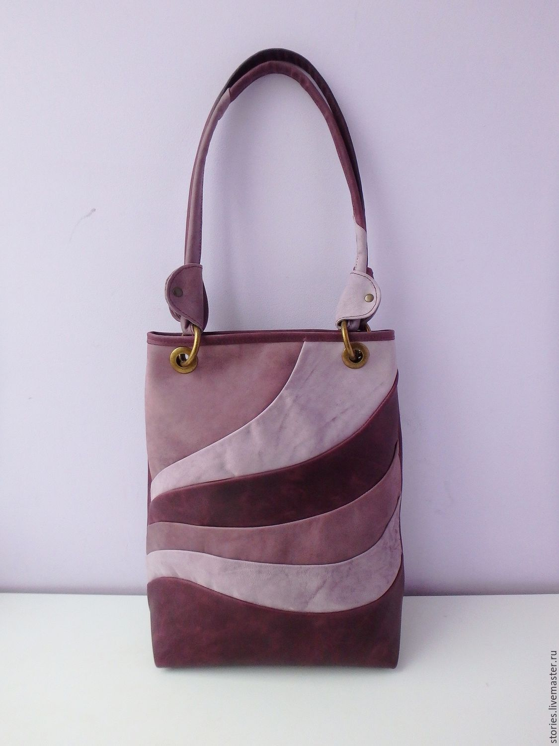 Leather bag Waves Lavender, Classic Bag, Dubna,  Фото №1
