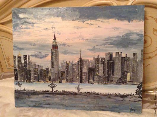 """Город ручной работы. Ярмарка Мастеров - ручная работа. Купить Картина маслом """"Мегаполис"""". Handmade. Серый, картина маслом, вечер"""