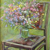 Картины и панно ручной работы. Ярмарка Мастеров - ручная работа Букет на стуле. Handmade.