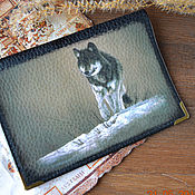 Сумки и аксессуары handmade. Livemaster - original item Passport cover leather male Wolf. Handmade.