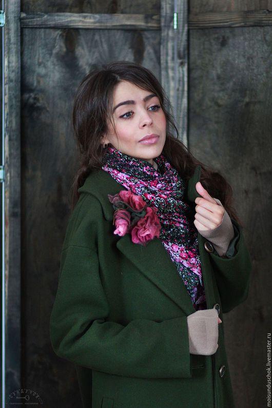 """Верхняя одежда ручной работы. Ярмарка Мастеров - ручная работа. Купить Пальто """"Тёмно-зелёный сад"""". Handmade. Тёмно-зелёный"""