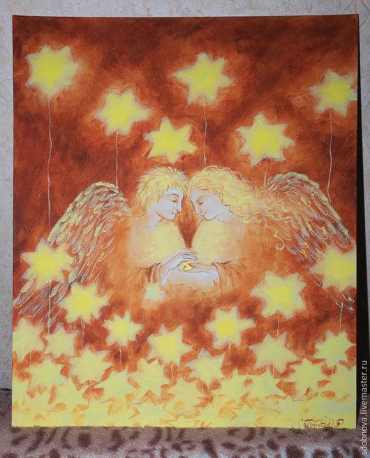 """Фантазийные сюжеты ручной работы. Ярмарка Мастеров - ручная работа. Купить картина """"О любви"""". Handmade. Коричневый, золотой, сказка"""