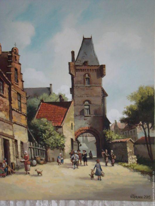 Город ручной работы. Ярмарка Мастеров - ручная работа. Купить голландский пейзаж. Handmade. Коричневый, холст масло, картина в подарок