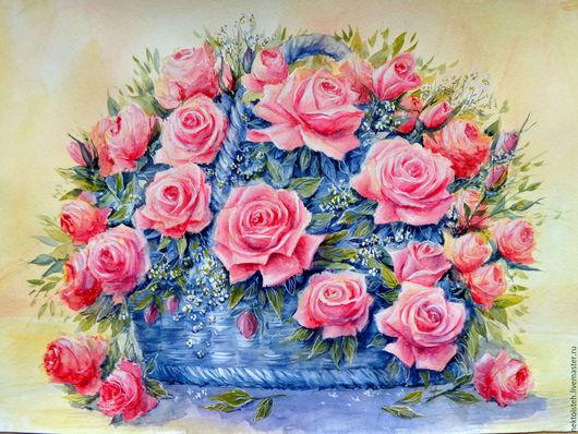 Картины цветов ручной работы. Ярмарка Мастеров - ручная работа. Купить Праздничный букет (акварель,30 на 42 см). Handmade.