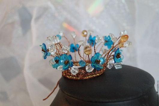 """Диадемы, обручи ручной работы. Ярмарка Мастеров - ручная работа. Купить Корона """"Незабудки"""". Handmade. Бирюзовый, украшение в волосы, принцессе"""