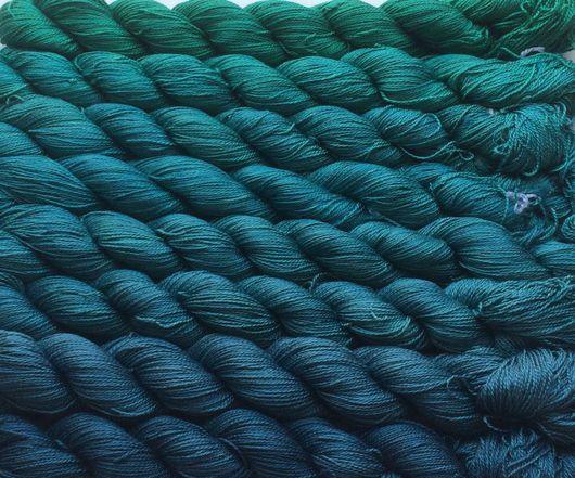 Вязание ручной работы. Ярмарка Мастеров - ручная работа. Купить Градиент. 100% шёлк ручной окраски- Mermaid. Handmade. yarnlux