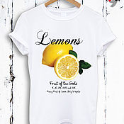 Одежда handmade. Livemaster - original item Lemon print cotton t-shirt-TEE10021CT. Handmade.