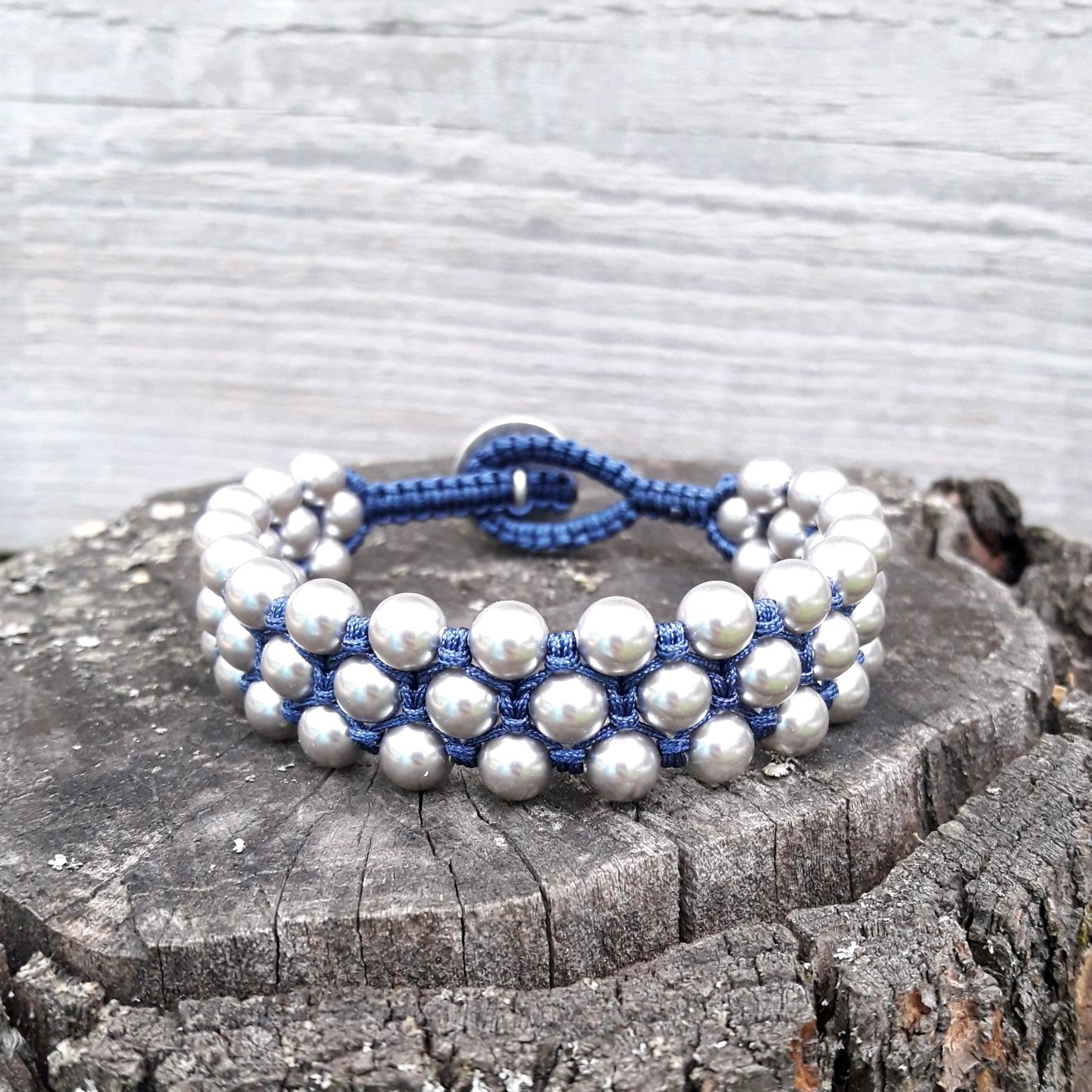 fd6795e1c Bracelets handmade. Livemaster - handmade. Buy Bracelet braided pearl  Swarovski grey Metalic.