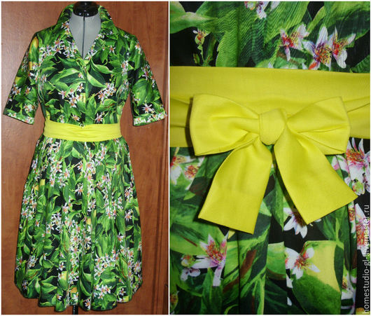 """Платья ручной работы. Ярмарка Мастеров - ручная работа. Купить Платье-рубашка """"Лимоны 2"""" с желтым поясом в стиле дольче. Handmade."""