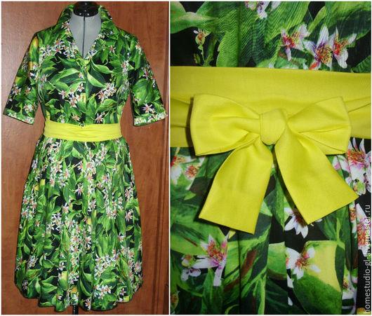 """Платья ручной работы. Ярмарка Мастеров - ручная работа. Купить Платье-рубашка """"Лимоны"""" с желтым поясом в стиле дольче. Handmade."""