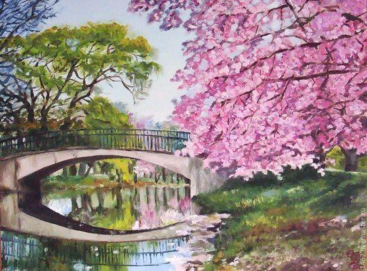 """Пейзаж ручной работы. Ярмарка Мастеров - ручная работа. Купить Картина маслом """"Весна. Цветение"""". Handmade. Весна, цветущая вишня"""