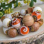 """Украшения ручной работы. Ярмарка Мастеров - ручная работа """"Персиковая пастила"""" комплект браслетов. Handmade."""