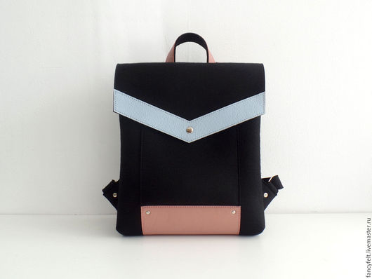 Рюкзаки ручной работы. Ярмарка Мастеров - ручная работа. Купить Черный рюкзак из фетра и натуральной кожи. Handmade. Сумка из фетра