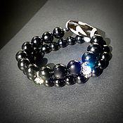 Bead bracelet handmade. Livemaster - original item JI-bracelet 2-row . Sherl, zircon, silver. Handmade.
