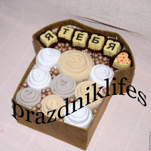 Персональные подарки ручной работы. Ярмарка Мастеров - ручная работа. Купить Букет из носков и шоколада в коробке. Handmade. Комбинированный