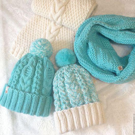 Комплекты аксессуаров ручной работы. Ярмарка Мастеров - ручная работа. Купить Бело-бирюзовый комплект - шапочка и шарф или снуд. Handmade.