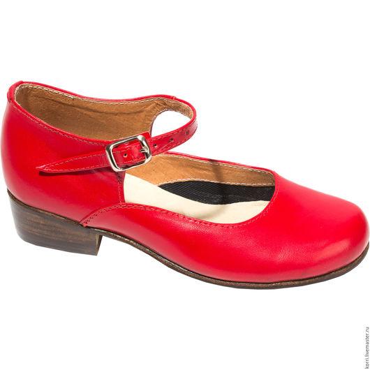 Обувь ручной работы. Ярмарка Мастеров - ручная работа. Купить Туфли народно-характерные (красные). Handmade. Ярко-красный