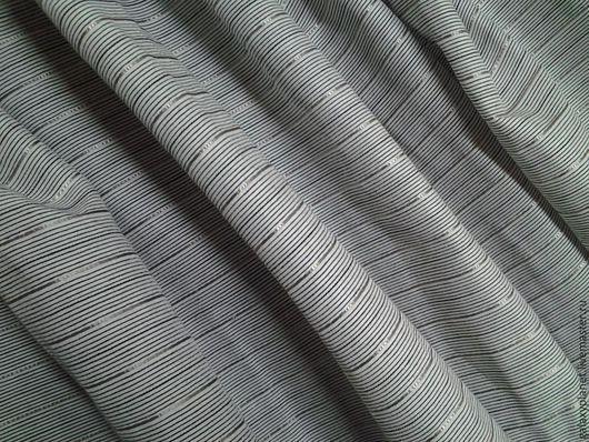 """Шитье ручной работы. Ярмарка Мастеров - ручная работа. Купить Ткань хлопок-стрейч """"Стильный серый"""" в полоску с серебром. Handmade."""