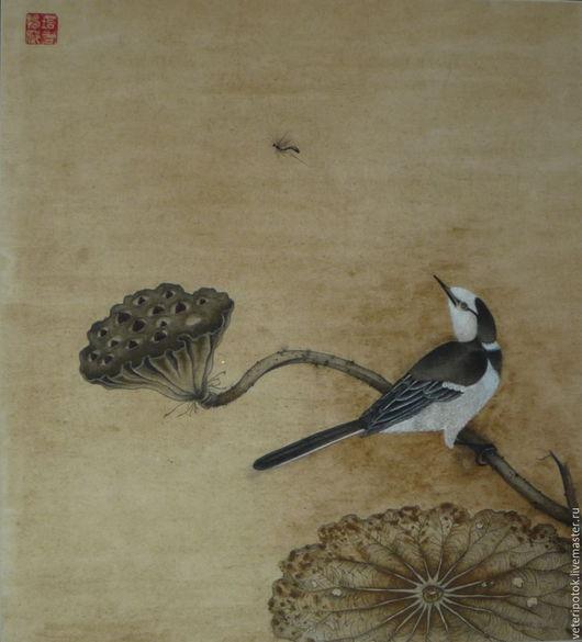 """Картины цветов ручной работы. Ярмарка Мастеров - ручная работа. Купить картина на рисовой бумаге """"Раздумье"""". Handmade. Китайский стиль"""