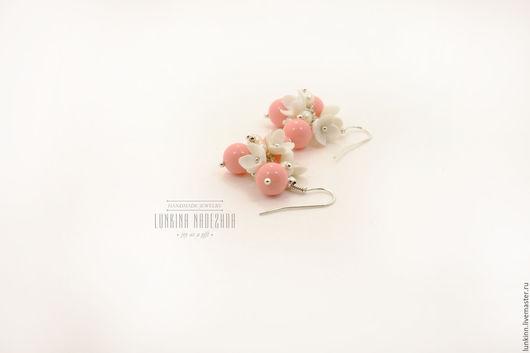 Серьги ручной работы. Ярмарка Мастеров - ручная работа. Купить Нежно розовые кремовые цветочные серьги. Handmade. Кремовый