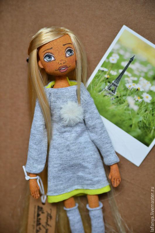 Коллекционные куклы ручной работы. Ярмарка Мастеров - ручная работа. Купить Шарнирная текстильная кукла. Handmade. Белый, кукла в подарок