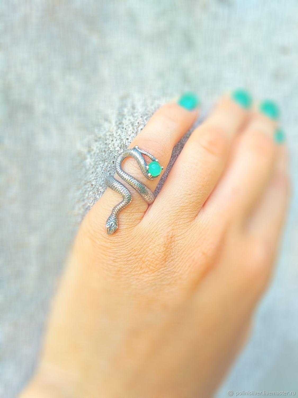 Змеиное кольцо с хризопразом, Кольца, Липецк,  Фото №1