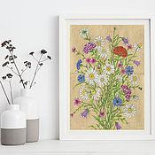 Картины и панно handmade. Livemaster - original item Print Field flowers Painting with flowers for the interior. Handmade.
