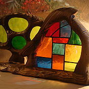 """Для дома и интерьера ручной работы. Ярмарка Мастеров - ручная работа витраж """"дом и дерево"""". Handmade."""
