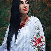 Одежда handmade. Livemaster - original item Elegant white blouse with hand embroidery