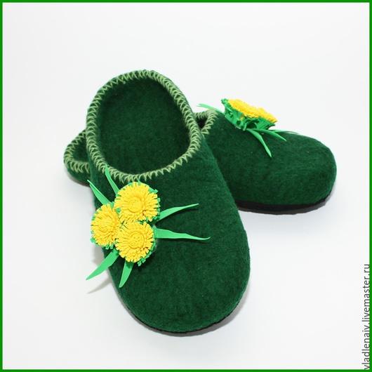 """Обувь ручной работы. Ярмарка Мастеров - ручная работа. Купить Тапочки """" Одуванчики"""". Handmade. Тапочки домашние, тапочки валяные"""