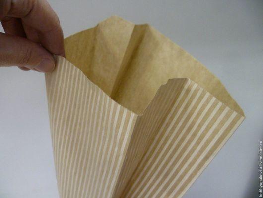 Упаковка ручной работы. Ярмарка Мастеров - ручная работа. Купить Крафт-пакет 20х9х35 см в полоску. Handmade. Пакет