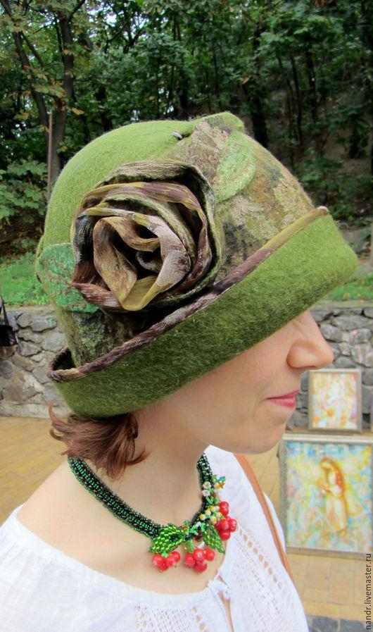 Шляпы ручной работы. Ярмарка Мастеров - ручная работа. Купить Авторская Шляпка  Осенняя пора. Handmade. Зеленый, шляпка валяние