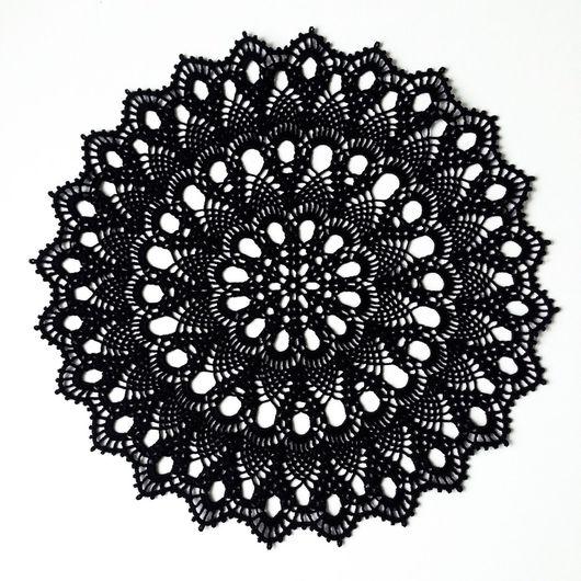 Текстиль, ковры ручной работы. Ярмарка Мастеров - ручная работа. Купить Салфетка крючком черного цвета.. Handmade. Черный