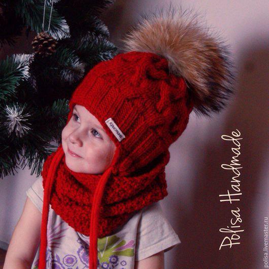Шапки и шарфы ручной работы. Ярмарка Мастеров - ручная работа. Купить Зимняя шапка с помпоном + снуд. Handmade.