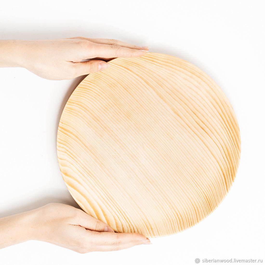 Wooden flat plate Siberian Cedar kitchen utensils #T106, Plates, Novokuznetsk,  Фото №1
