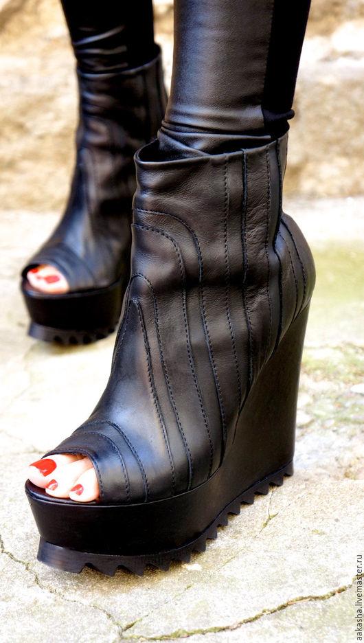 Ботильоны обувь ручной работы черные ботильоны туфли с открытым носом обувь на платформе