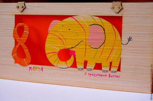 Деревянная открытка со слоником. С Днем рождения / С 8 марта