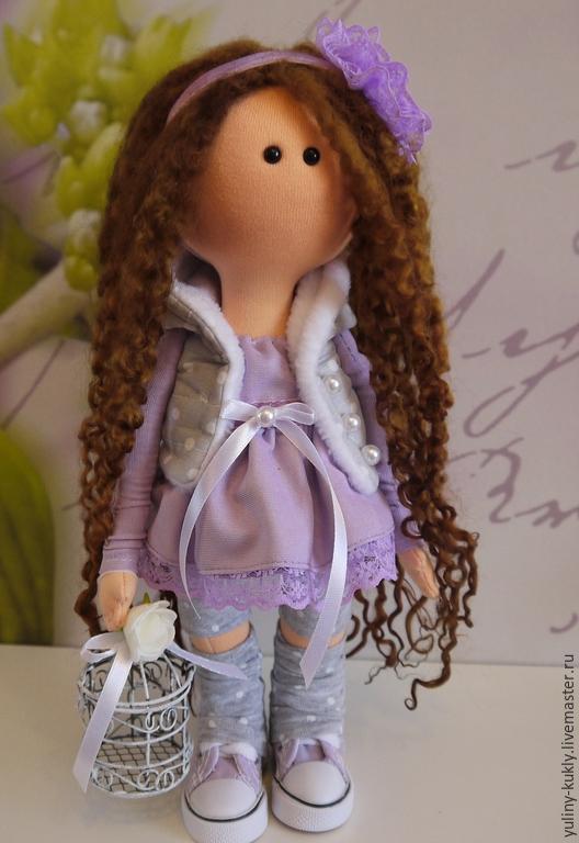 Коллекционные куклы ручной работы. Ярмарка Мастеров - ручная работа. Купить Текстильная куколка-малышка Софочка. Handmade. Сиреневый, шатенка