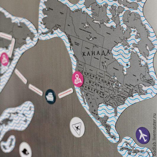 Подарки для мужчин, ручной работы. Ярмарка Мастеров - ручная работа. Купить Магнитная скретч карта мира TrueMap Puzzle. Handmade.