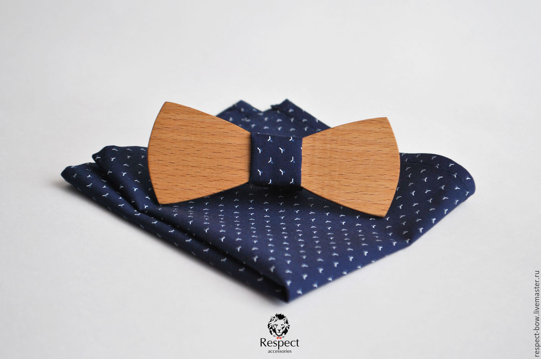 Wooden butterfly tie Boyar dark blue pocket square, Ties, Moscow,  Фото №1