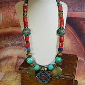 Украшения handmade. Livemaster - original item East necklace turquoise, coral, lapis lazuli Nepalese jewelry.. Handmade.