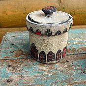 Посуда ручной работы. Ярмарка Мастеров - ручная работа Емкость керамическая раку Домики. Handmade.