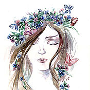 Картины и панно handmade. Livemaster - original item The lungwort, watercolor, art print. Handmade.