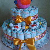 Подарки к праздникам ручной работы. Ярмарка Мастеров - ручная работа Торт из памперсов Нежность. Handmade.