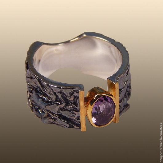 Кольцо с аметистом, Илья Максимов, кольцо серебро, украшения из серебра, ювелирные украшения из серебра, серебро 925, серебро 925 пробы, авторские украшения,  кольцо из серебра, оксидированное серебро
