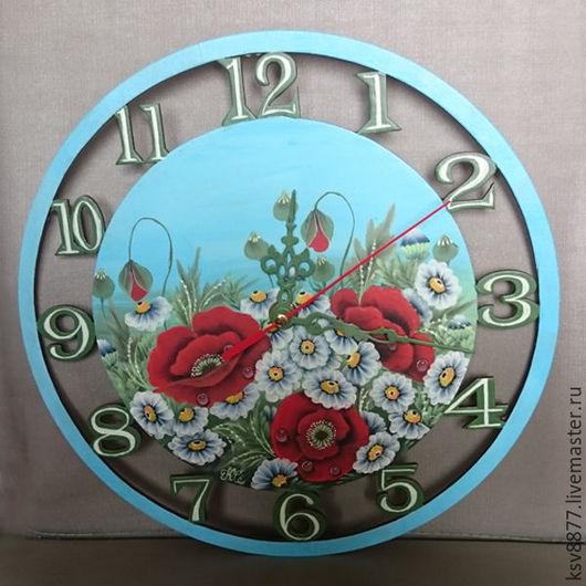 """Часы для дома ручной работы. Ярмарка Мастеров - ручная работа. Купить Настенные часы """"Полевые цветы"""". Handmade. Купить подарок"""