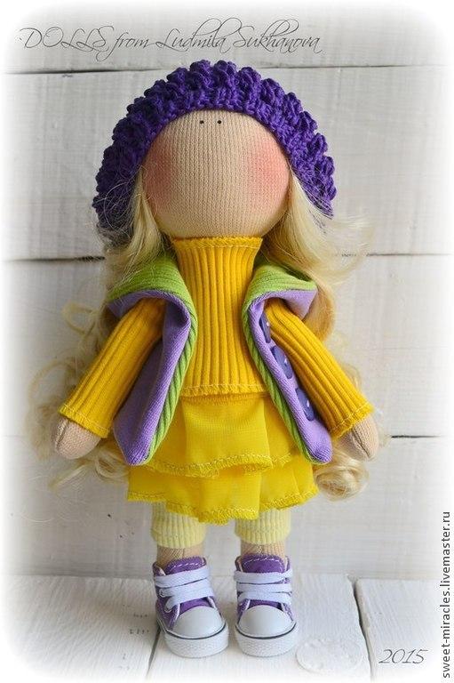 Коллекционные куклы ручной работы. Ярмарка Мастеров - ручная работа. Купить Кукла-малыш в фиолетово-желтой гамме. Handmade. Фиолетовый
